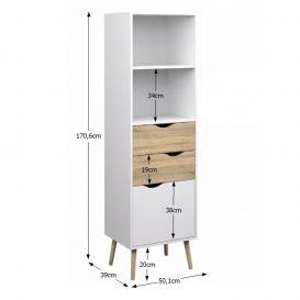 vitrines szekrény, tölgy sonoma/fehér, OSLO 75382