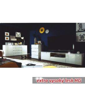 RTV asztal, fehér extra magasfényű, SPICE
