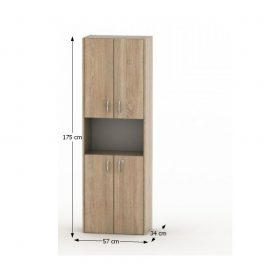 Polcosszekrény ajtókkal, tölgy sonoma, TEMPO ASISTENT NEW 003