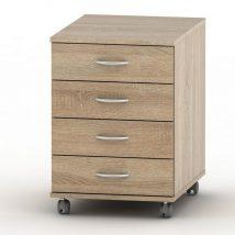 4 fiókos kerekes szekrény + zár, sonoma tölgyfa, TEMPO ASISTENT NEW 015