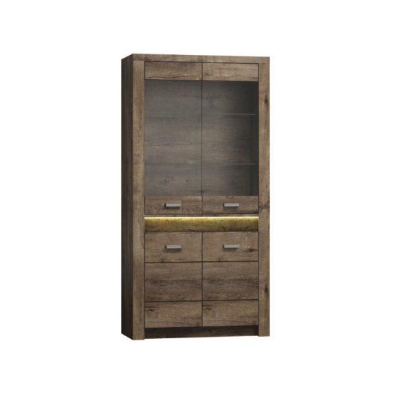 Vitrines szekrény, kőris sötét, INFINITY I-03