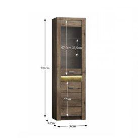 Vitrines szekrény, kőris sötét, INFINITY I-04
