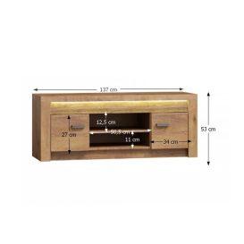 RTV asztal/szekrény, világos kőris, INFINITY I-09