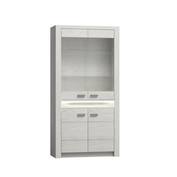 Vitrines szekrény, kőris fehér, INFINITY I-03