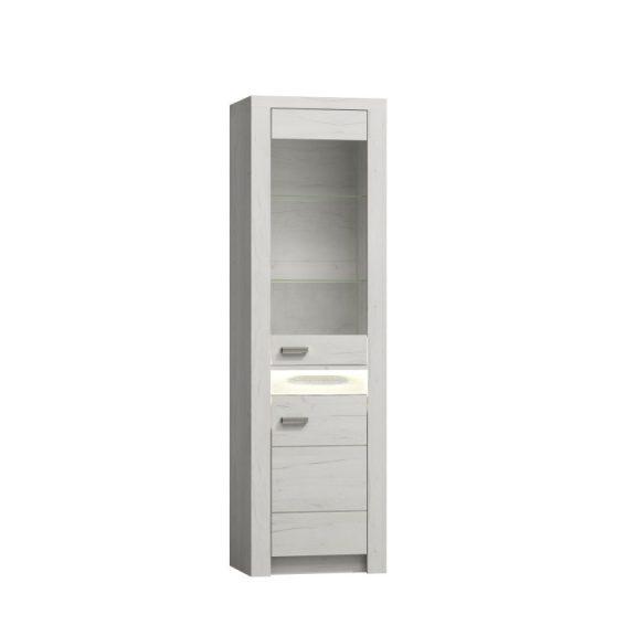 Vitrines szekrény, kőris fehér, INFINITY I-04