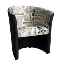 Fotel, textilbőr fekete/szövet újságminta, CUBA