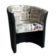 Fotel, műbőr fekete/szövet újságminta, CUBA