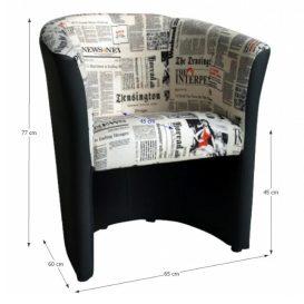 Klub fotel, textilbőr fekete/szövet újságminta, CUBA