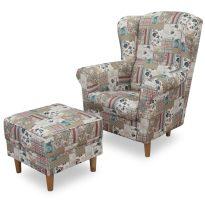 Fotel + puff, patchwork Viorica 1, ASTRID
