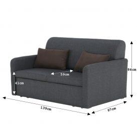 Kinyitható kanapé, szürke/barna, LUSITA