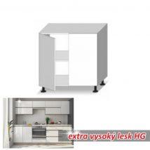 Alsó szekrény 2-ajtós, magas fényű fehér, LINE WHITE