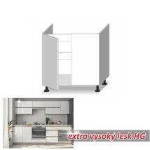 Alsó mosogató szekrény 2-ajtós, magas fényű fehér, LINE WHITE