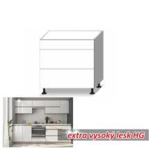 Alsó szekrény 3-fiókos, magas fényű fehér, LINE WHITE