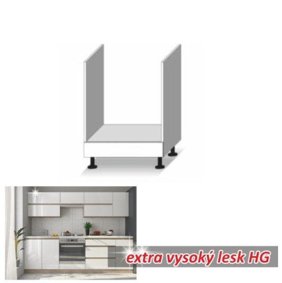 Tűzhely beépítő alsószekrény, fehér magas fényű HG, LINE BIELA