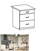Alsó fiókos szekrény, fehér/északi fenyő, ROYAL D60S3