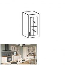Felső szekrény üvegajtós, fehér/északi fenyő, jobb oldali kivitel, ROYAL G40S