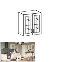 Felső szekrény üvegajtós, fehér/északi fenyő, ROYAL G60S