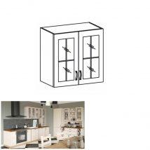 Felső, üveges szekrény, fehér/északi fenyő, ROYAL G80S