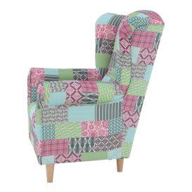 füles fotel, szövet patchwork, CHARLOT