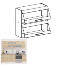 Felső szekrény, sonoma tölgyfa/fehér, FABIANA W - 80K2S