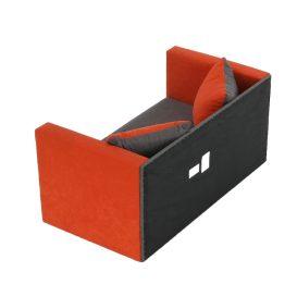 Kinyitható kanapé, narancssárga/szürke, KATARINA NEW