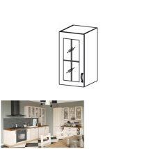 Felső szekrény üvegajtós, fehér/északi fenyő, bal oldali kivitel, ROYAL G40S