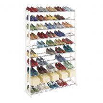 10-soros cipőpolc, műanyag+fém, fehér, BOTIS 1 TÍPUS