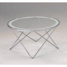 Dohányzóasztal, króm + üveg - áttetsző fehér kerettel, LEONEL