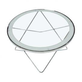 Dohányzóasztal, króm/átlátszó üveg, LEONEL