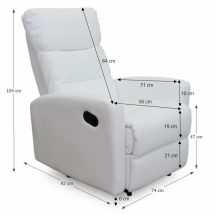 Pihenő fotel, fehér textilbőr, SILAS