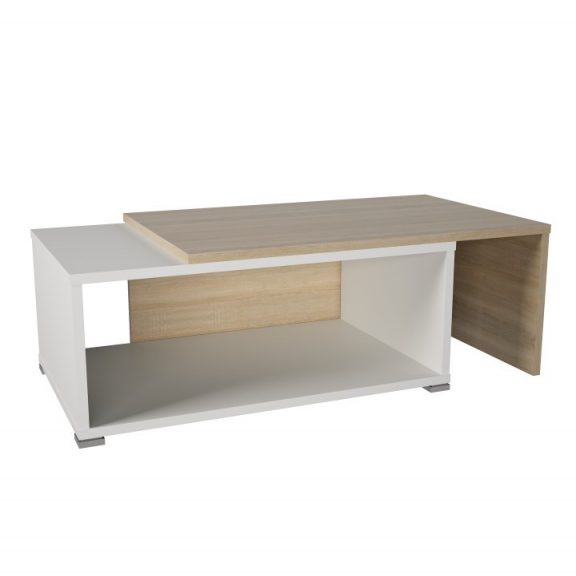 Dohányzóasztal, kinyitható, tölgy sonoma/fehér, DRON