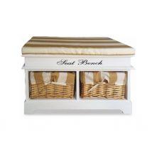 Praktikus pad 2 fonott kosarakkal, díszpárnával, fehér/mézes, SEAT BENCH 4