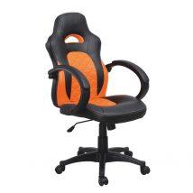 Irodai szék, fekete ekobőr +  narancssárga ekobőr, NELSON