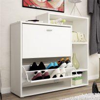 2-soros billenő ajtajú cipősszekrény, fehér, IZABELA