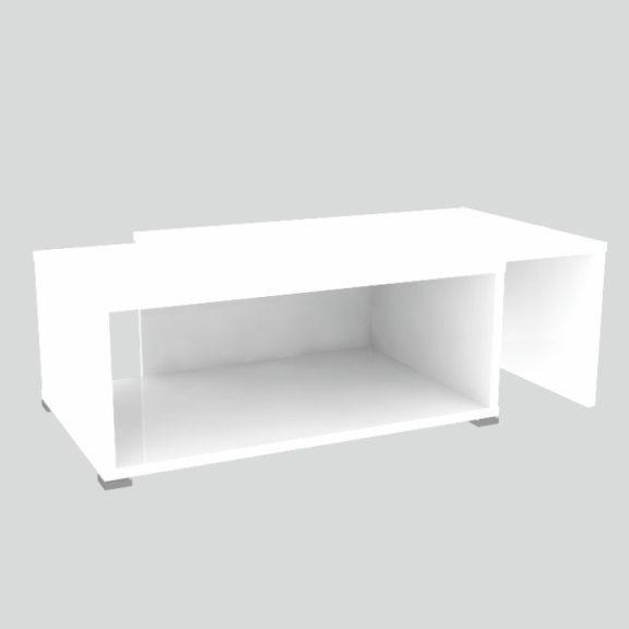 Nyitható dohányzóasztal, fehér, DRON