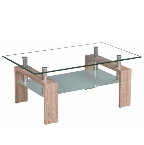 Dohányzóasztal, üveg/tölgy sonoma, LIBOR NEW