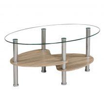 Dohányzóasztal, acél + áttetsző felső üveg + sonoma tölgyfa, PANTY NEW