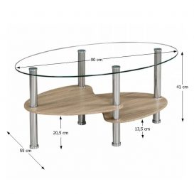 Dohányzóasztal, acél/átlátszó üveg/tölgy sonoma, PANTY NEW