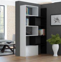 Modern könyvespolc, fehér/fekete, ASTA