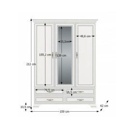 Szekrény tükörrel 3D4S, DTD laminált, woodline bézs, TIFFY 01