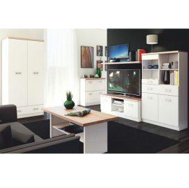 PC asztal 1d1s, DTD laminált, fehér/tölgy sonoma, TOPTY TYP 09