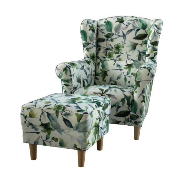 Füles fotel puffal, szövet minta zöld levél, ASTRID