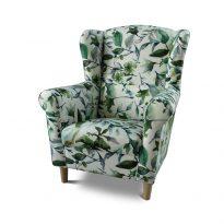 Füles fotel, szövet minta zöld levél, CHARLOT