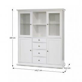 Vitrines szekrény, DTD fóliázott/MDF festett, fehér, PARIS