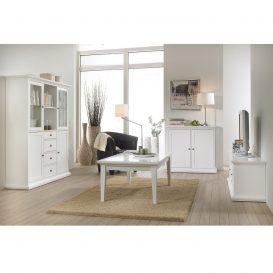 Dohányzóasztal, DTD fóliázott/MDF festett, fehér, PARIS