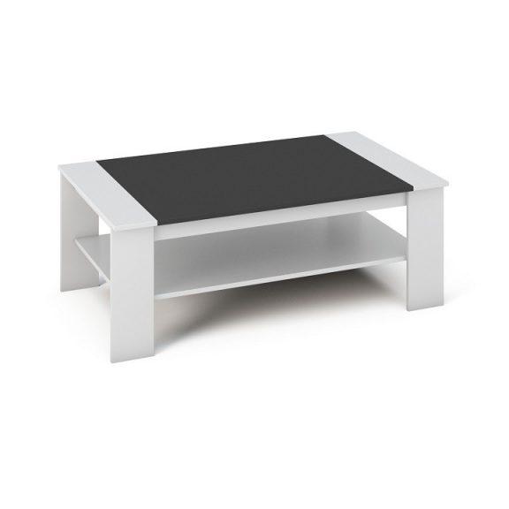Dohányzóasztal, fehér/fekete, BAKER