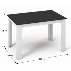 KRAZ Étkezőasztal 120 FEKETE/FEHÉR