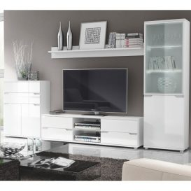 Vitrines szekrény LED világítással, fehér/fehér extra magasfényű, ADONIS AS 10