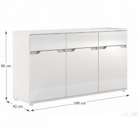 Komód, fehér/fehér extra magasfényű, ADONIS ASK6