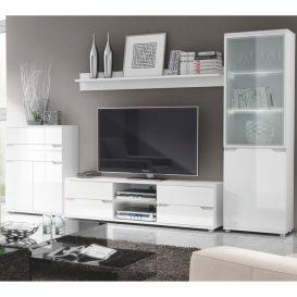 Polc, fehér/fehér extra magasfényű, ADONIS AS 05